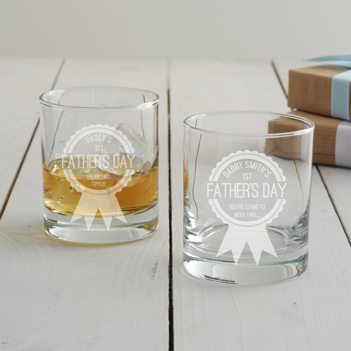 Personalised First Father's Day Tumbler Glass