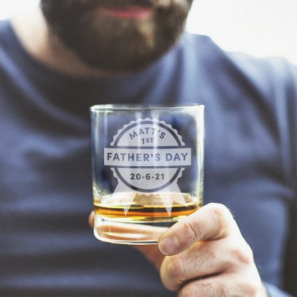 Personalised First Fathers Day Whisky Glass
