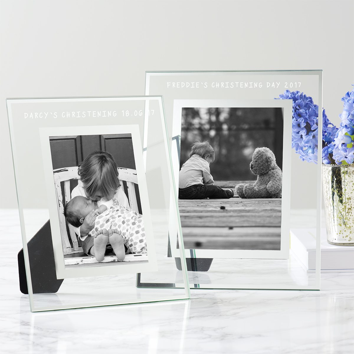 Personalised Glass Edged Christening Frame