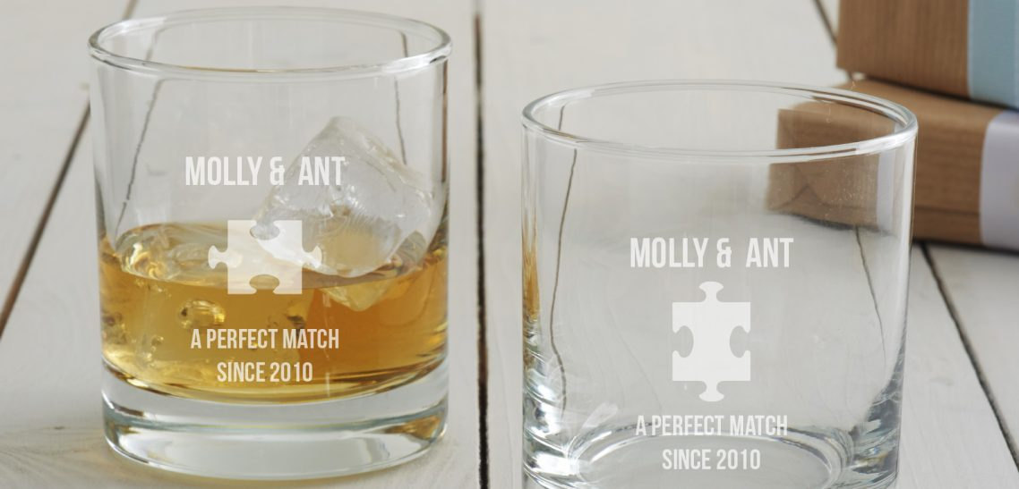 Personalised Jigsaw Anniversary Whisky Glass Set