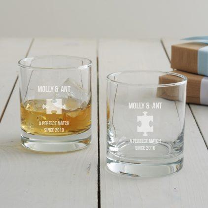 Personalised Jigsaw Anniversary Whisky Glass Set