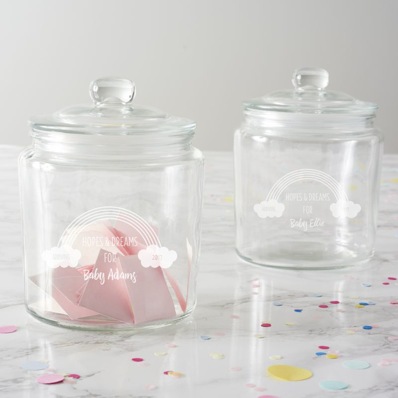 personalised rainbow baby shower jar becky broome