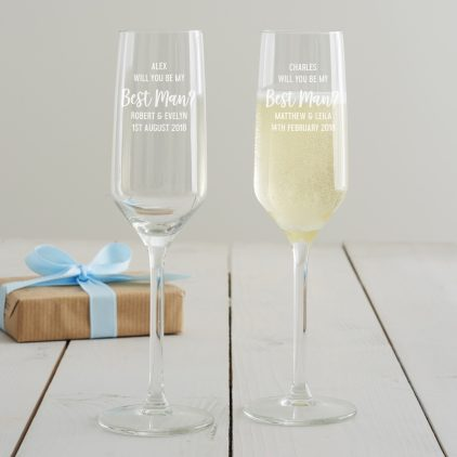 Personalised 'Will You Be My Best Man' Champagne Flute