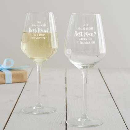 Personalised' Will You Be My Best Man' Wine Glass