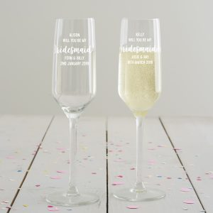 Personalised 'Will You Be My Bridesmaid' Champagne Flute