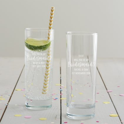 Personalised 'Will You Be My Bridesmaid' Hi Ball Glass