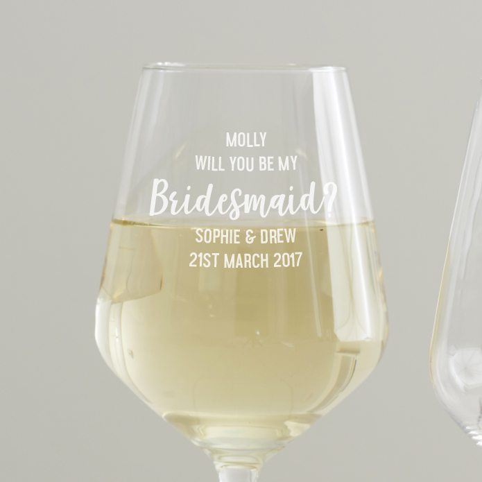 Personalised' Will You Be My Bridesmaid' Wine Glass Detail