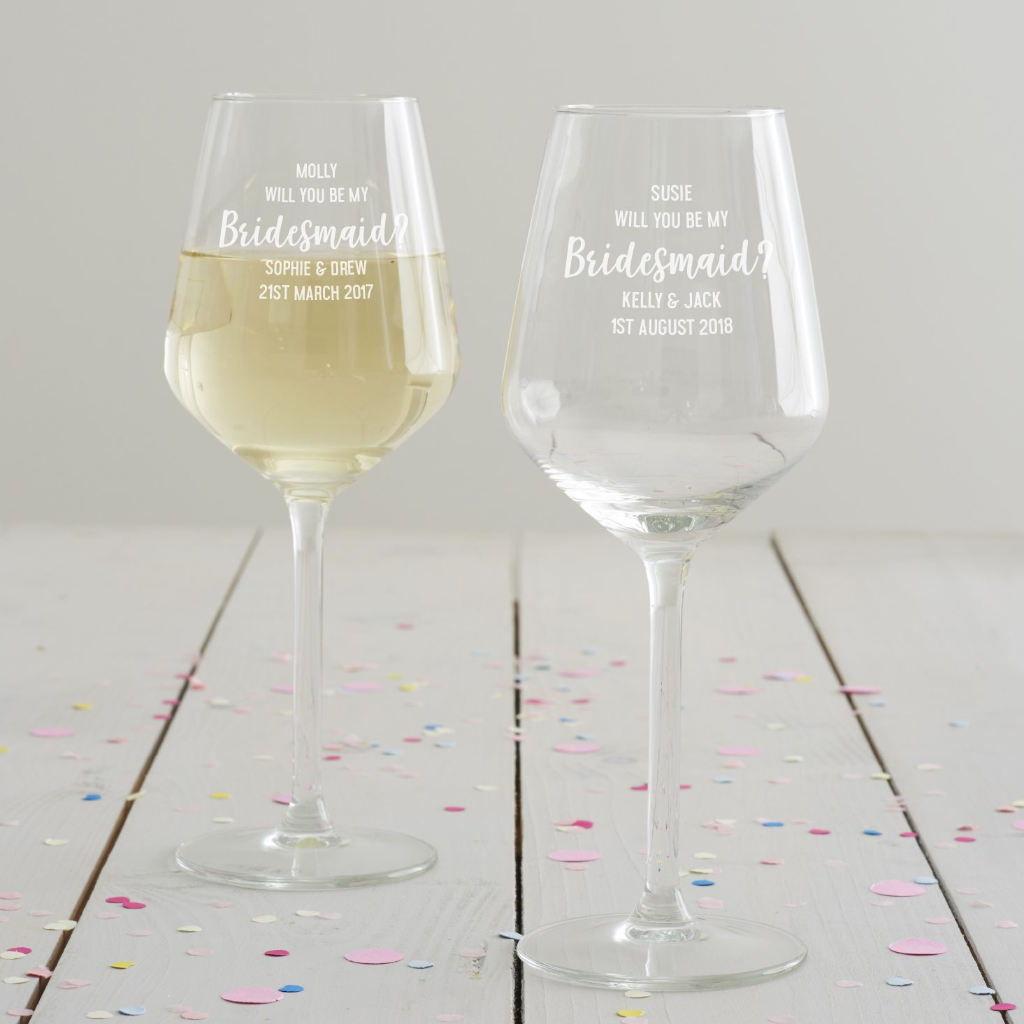 Personalised' Will You Be My Bridesmaid' Wine Glass
