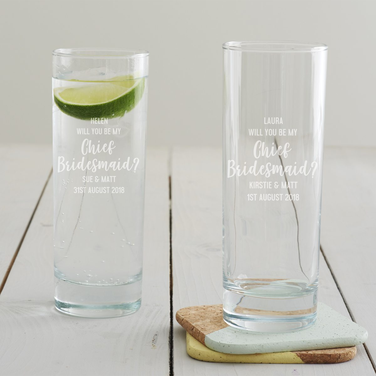Personalised 'Will You Be My Chief Bridesmaid' Hi Ball Glass