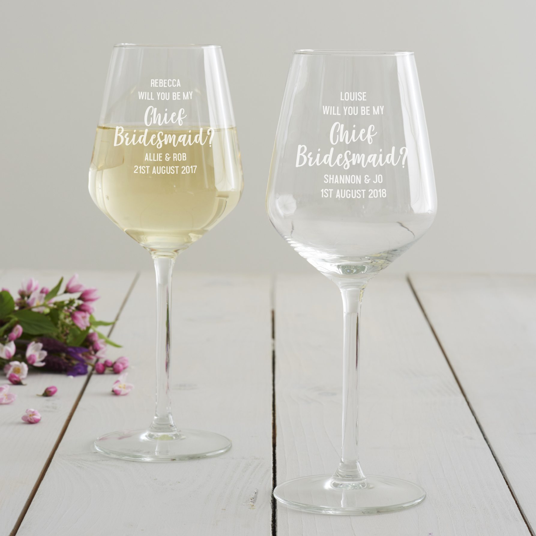 Personalised 'Will You Be My Chief Bridesmaid' Wine Glass