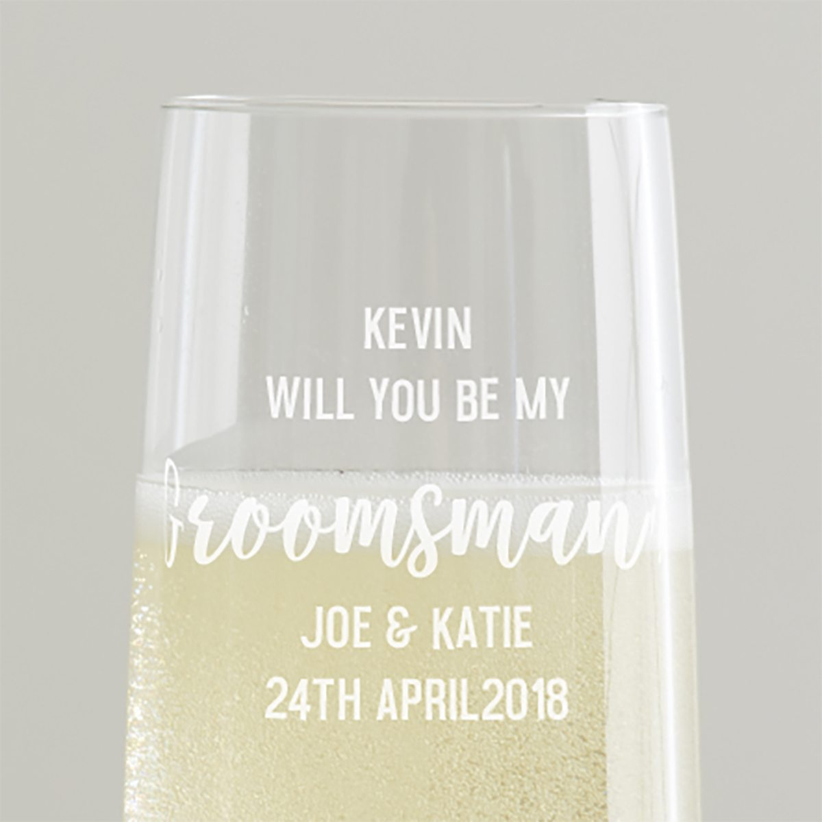 Personalised 'Will You Be My Groomsman' Champagne Flute