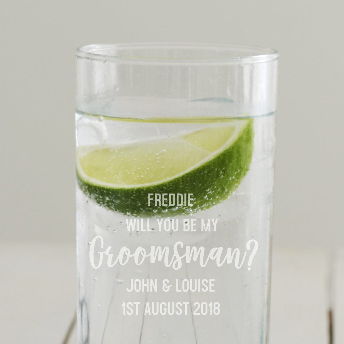 Personalised 'Will You Be My Groomsman' Hi Ball Glass
