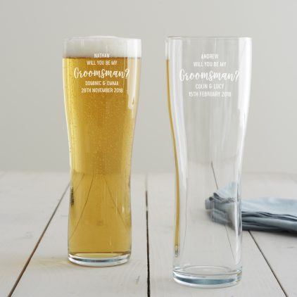 Personalised 'Will You Be My Groomsman' Pint Glass