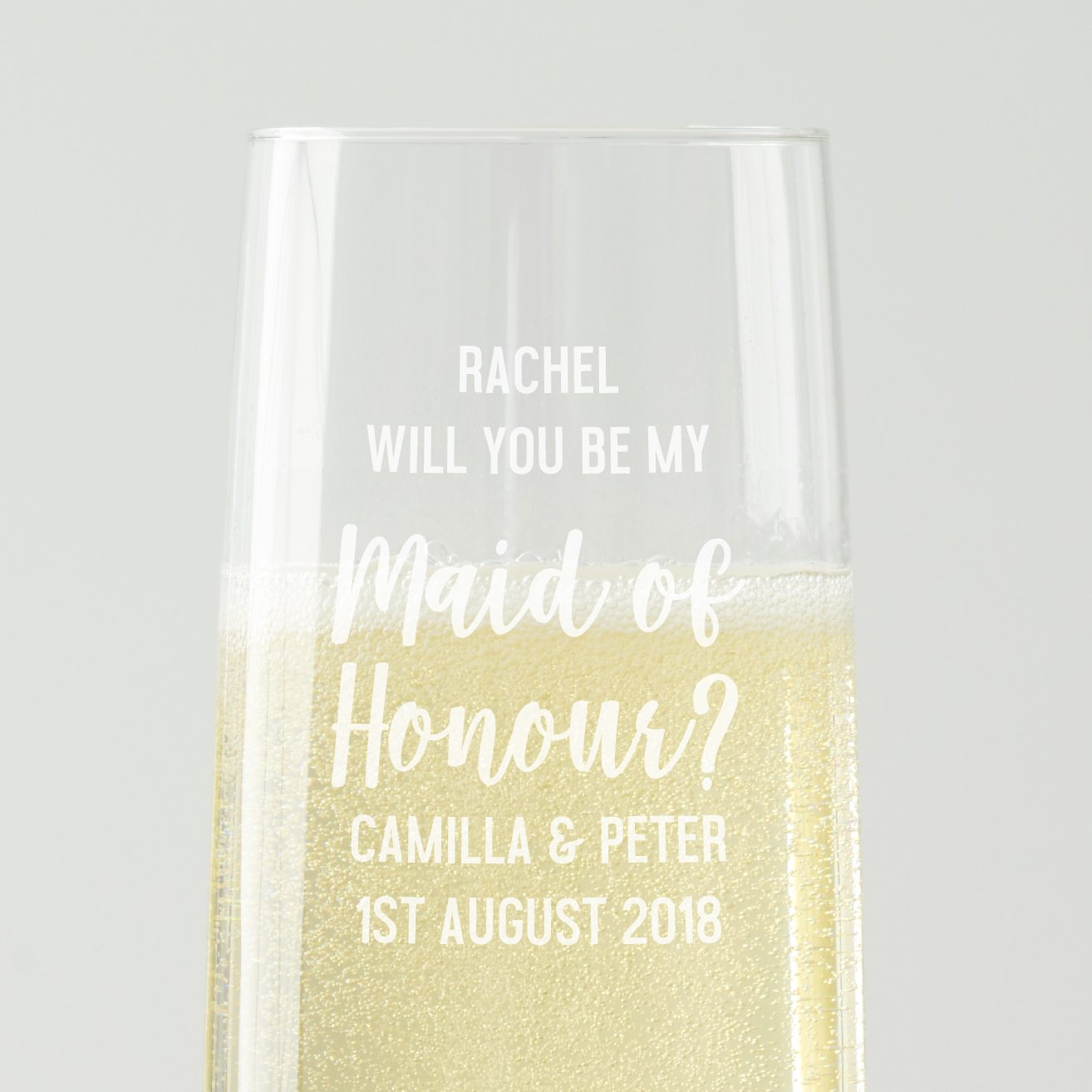 Personalised 'Will You Be My Maid Of Honour' Champagne Flute
