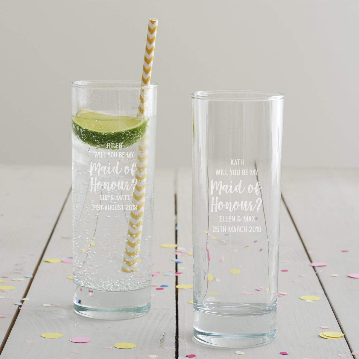 Personalised 'Will You Be My Maid Of Honour' Hi Ball Glass