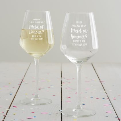 Personalised' Will You Be My Maid Of Honour' Wine Glass