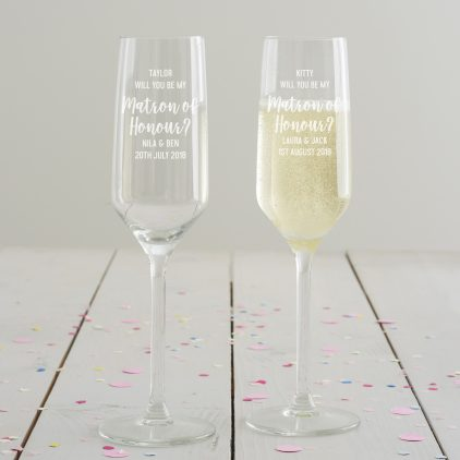 Personalised 'Will You Be My Matron Of Honour' Champagne Flute