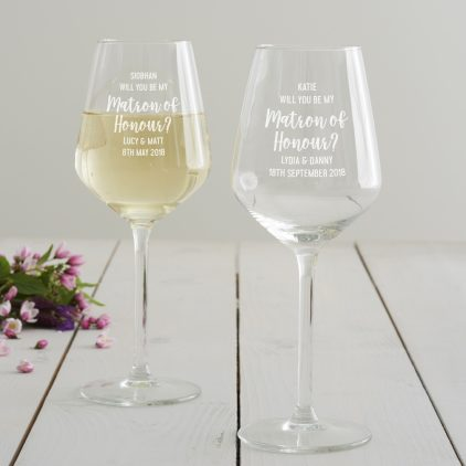 Personalised' Will You Be My Matron Of Honour' Wine Glass
