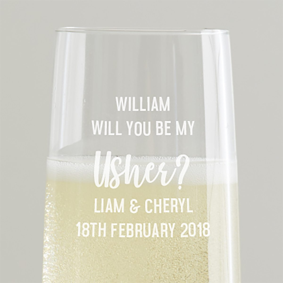 Personalised 'Will You Be My Usher' Champagne Flute