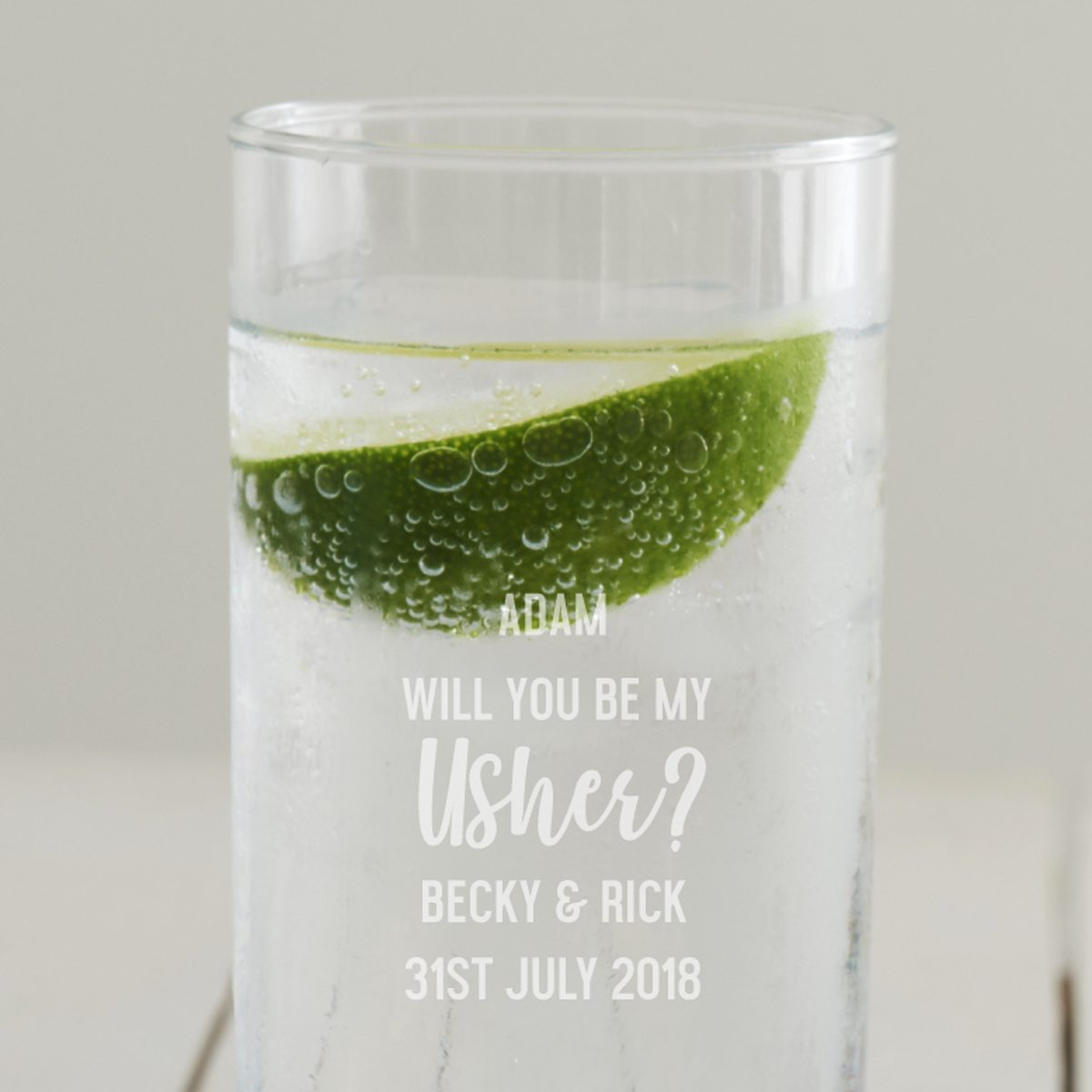 Personalised 'Will You Be My Usher' Hi Ball Glass