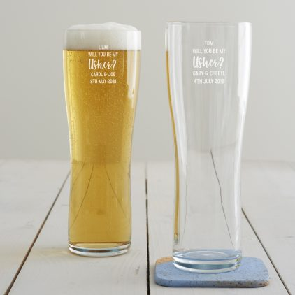 Personalised 'Will You Be My Usher' Pint Glass