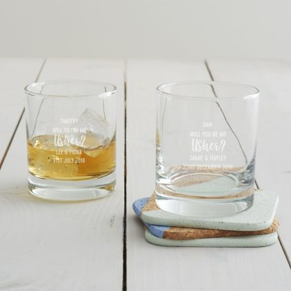 Personalised 'Will You Be My Usher' Tumbler Glass