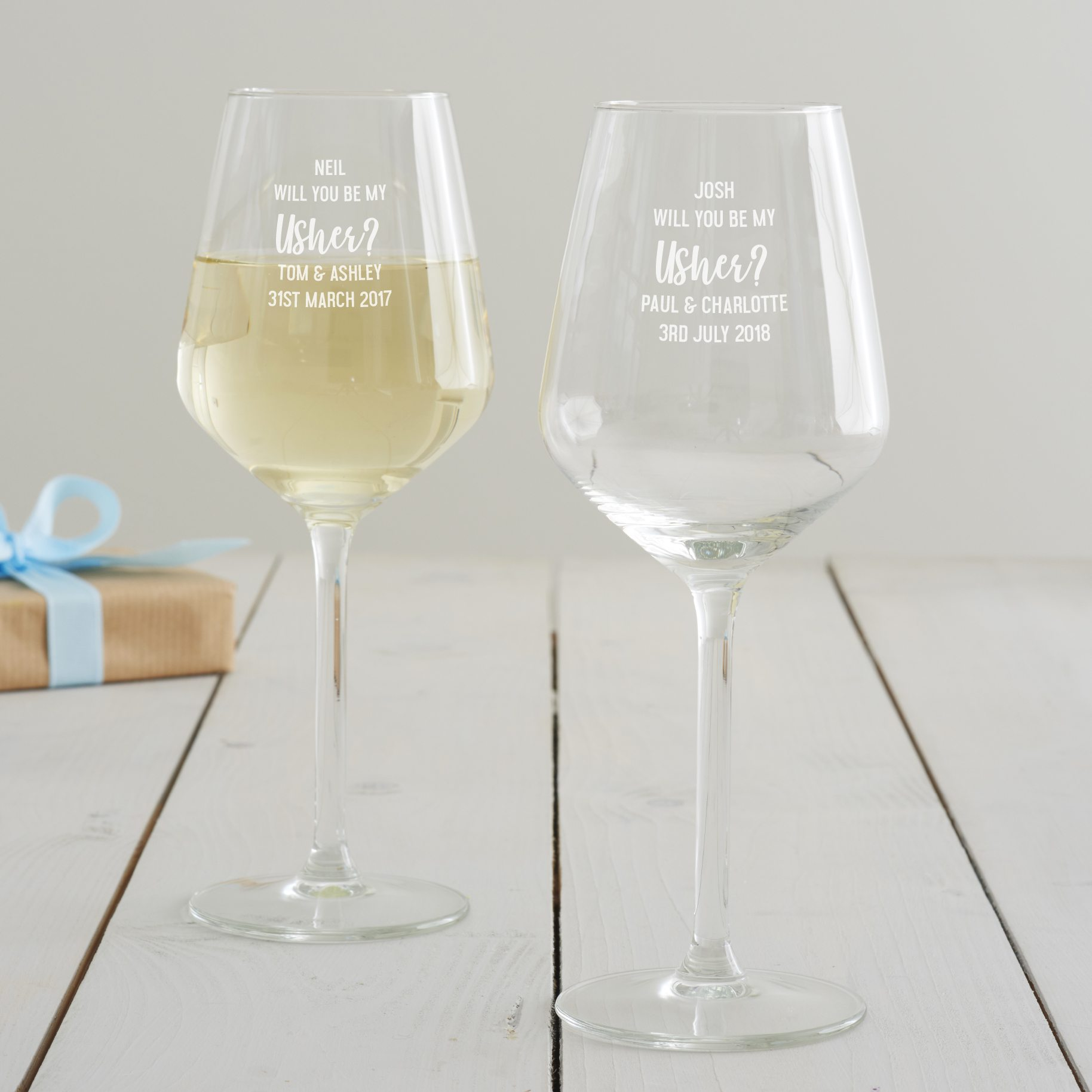 Personalised 'Will You Be My Usher' Wine Glass