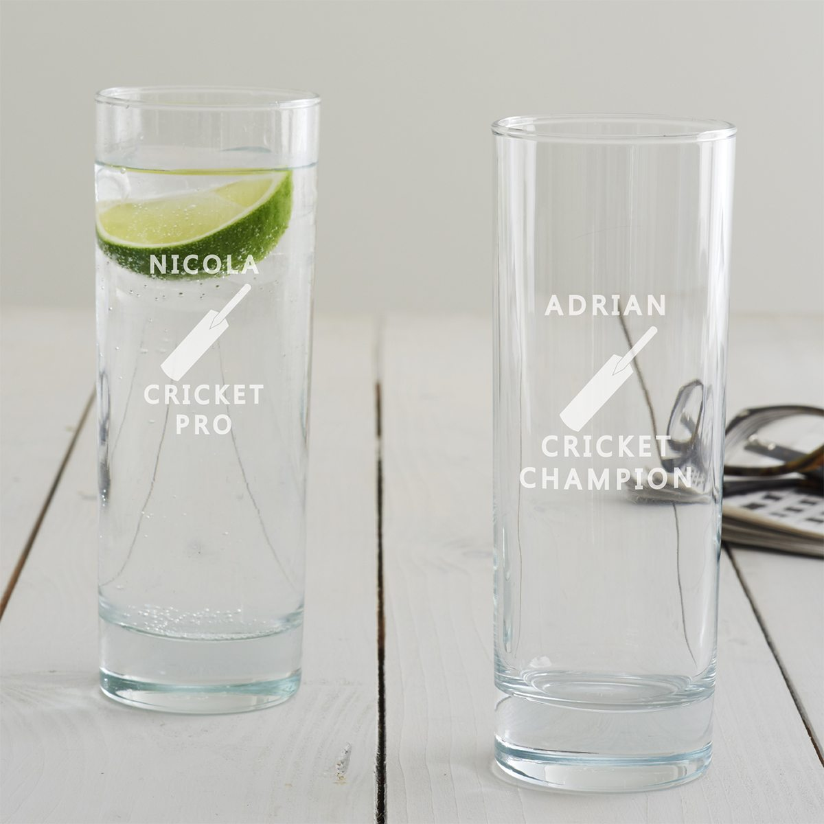 Personalised Cricket Hi Ball Glass