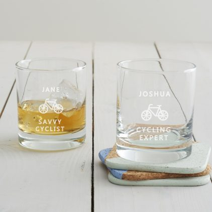 Personalised Cycling Tumbler Glass