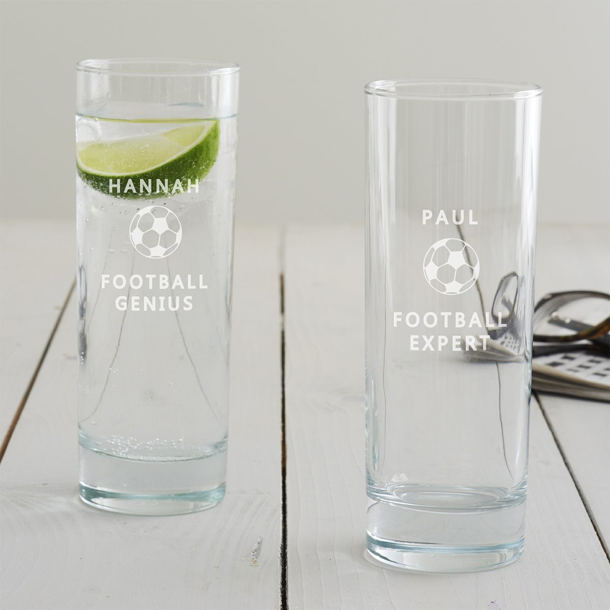Personalised Football Hi Ball Glass