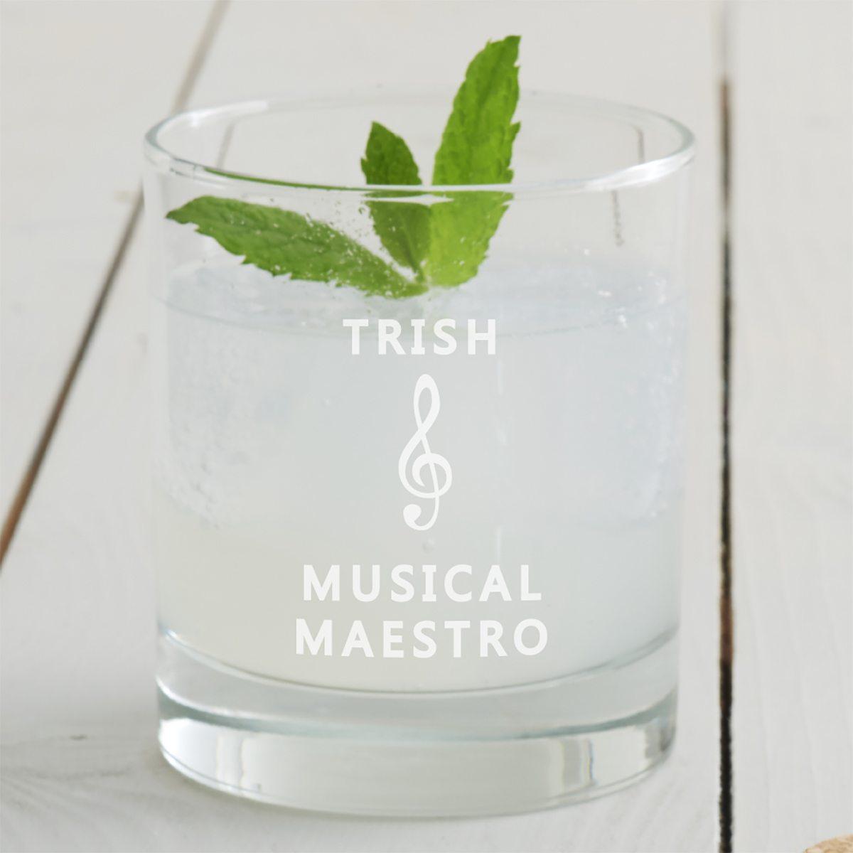 Personalised Music Tumbler Glass