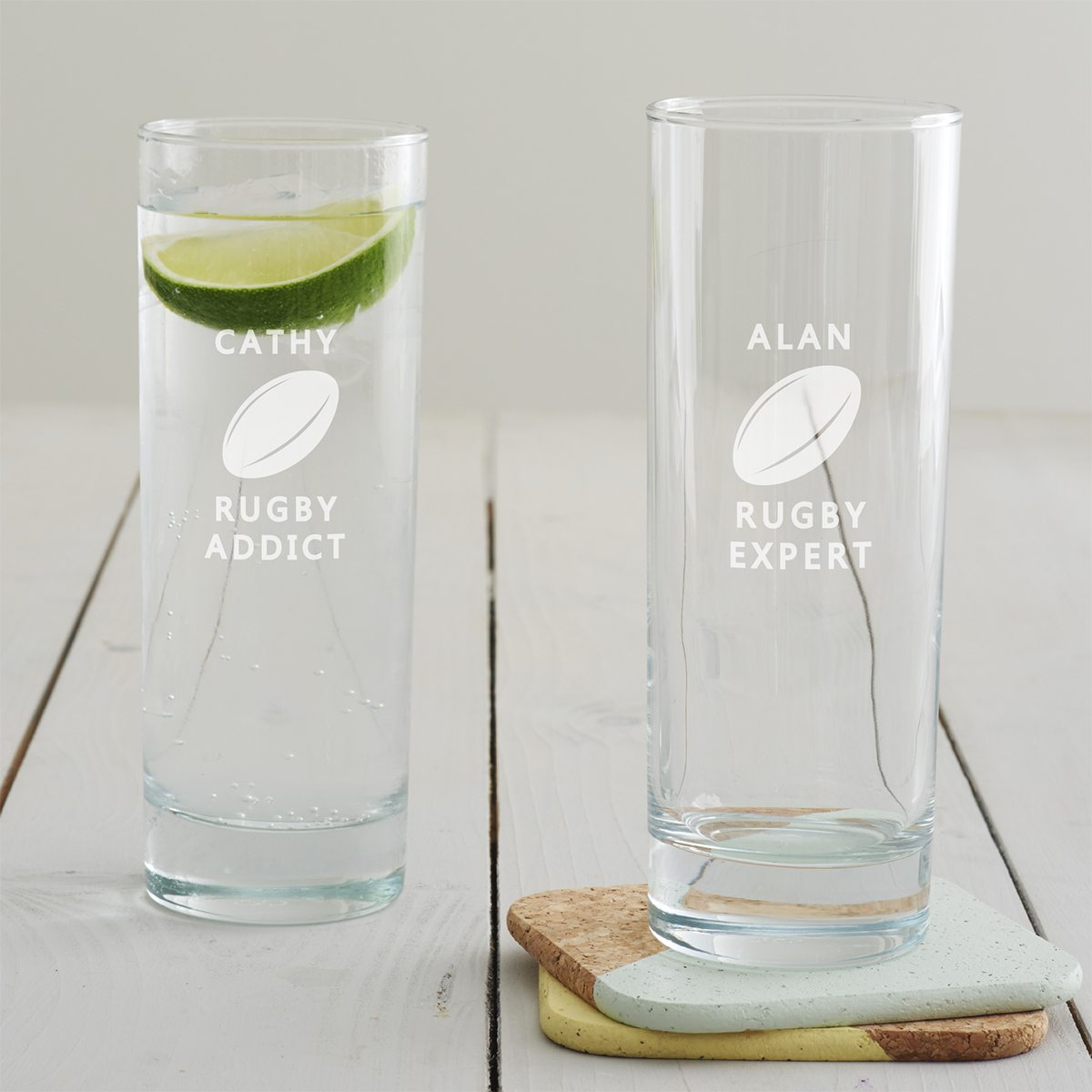 Personalised Rugby Hi Ball Glass