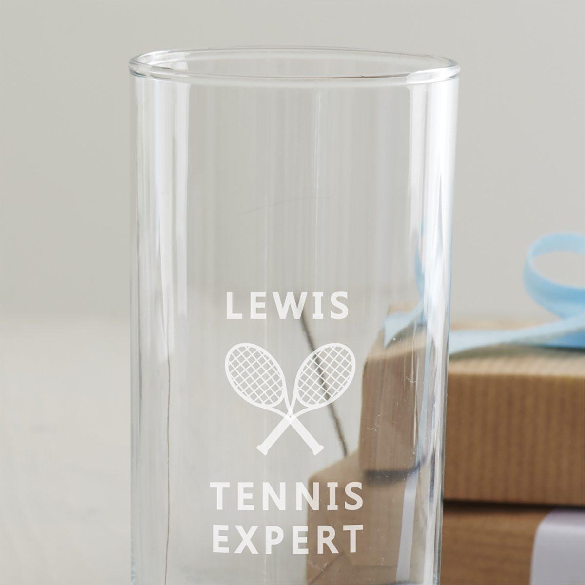 Personalised Tennis Hi Ball Glass