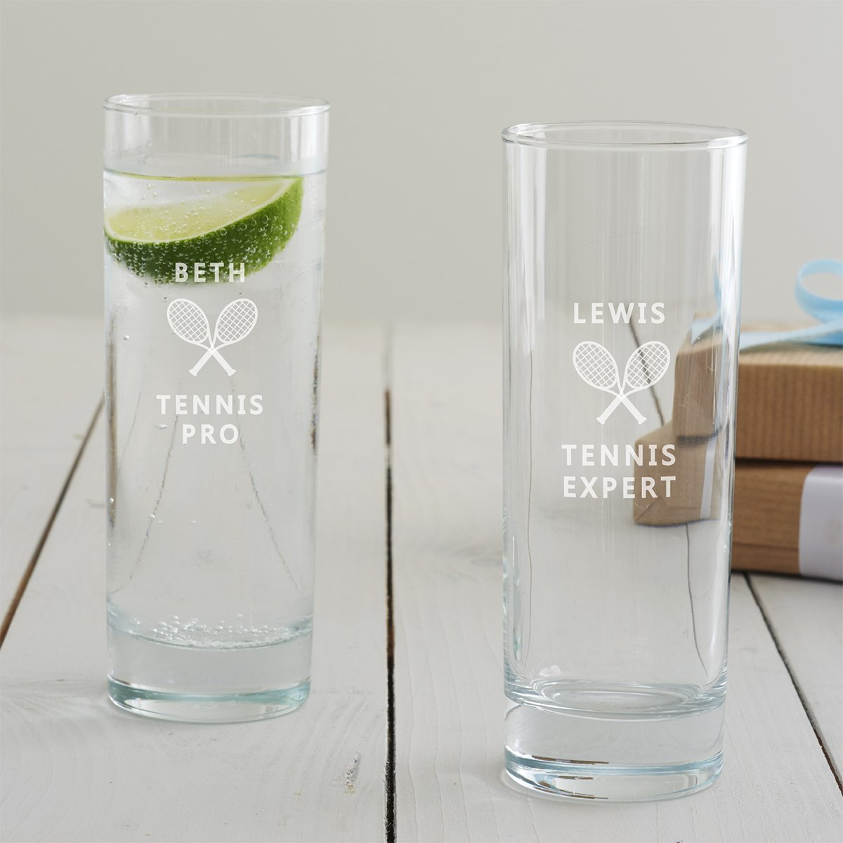 Personalised Tennis Hi Ball Glass