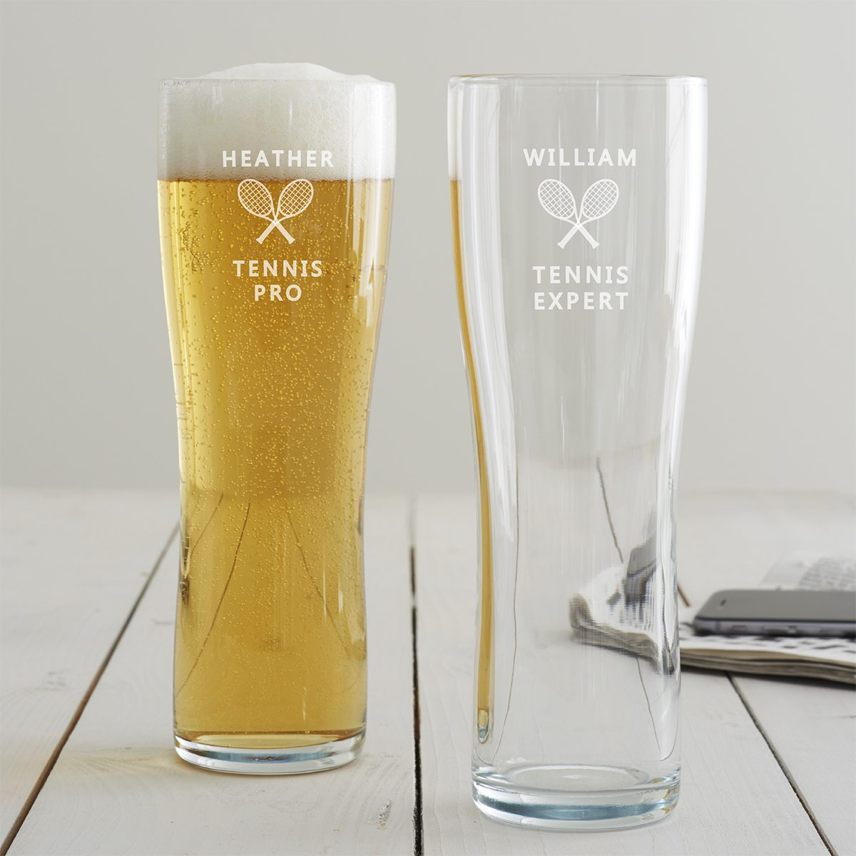 Personalised Tennis Pint Glass