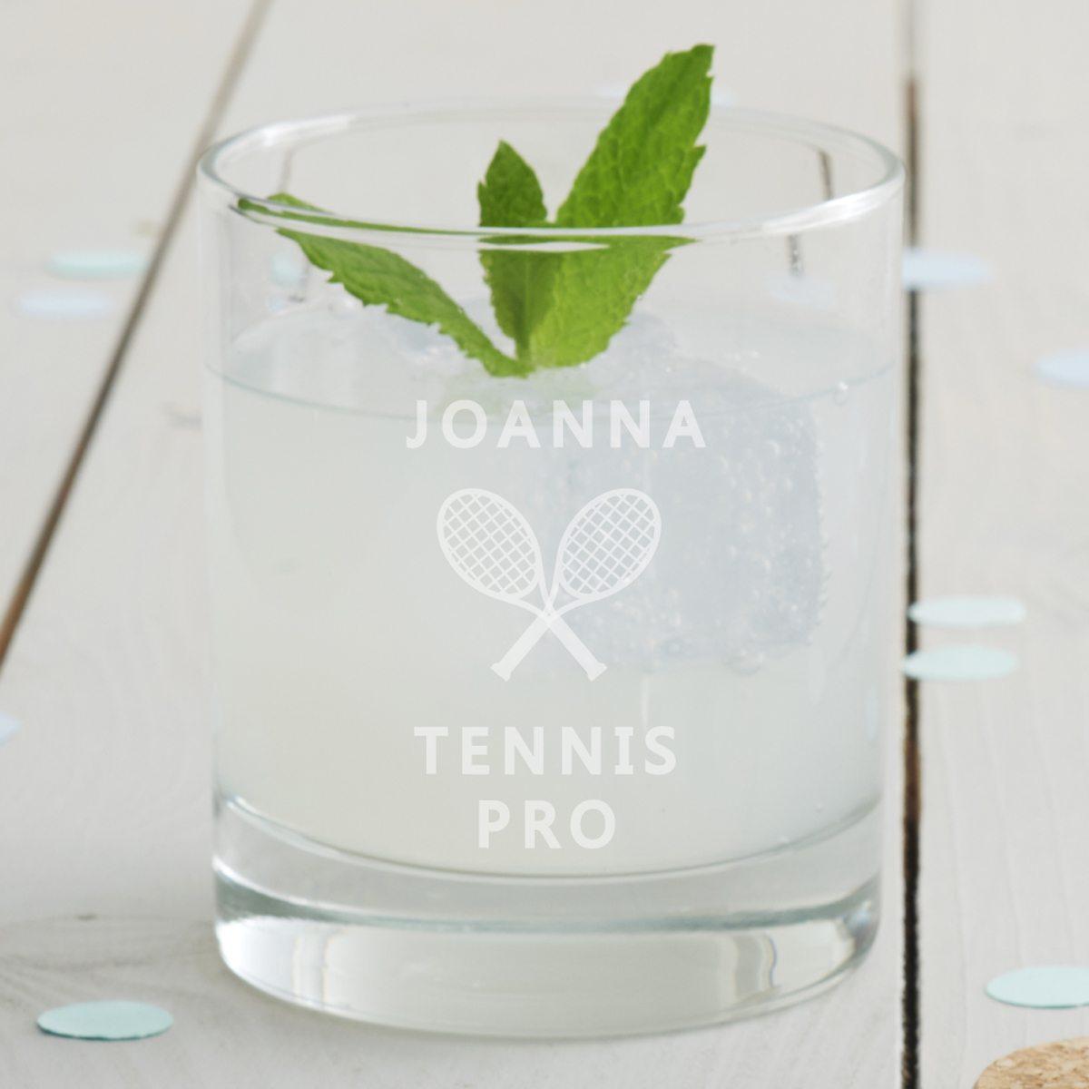 Personalised Tennis Tumbler Glass