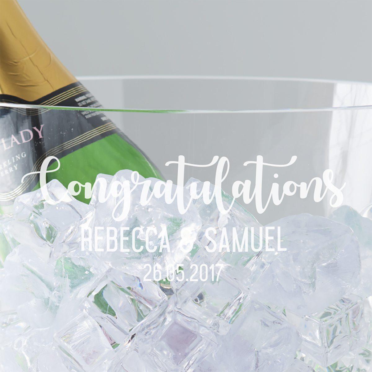 Personalised Wedding Crystal Champagne Bucket