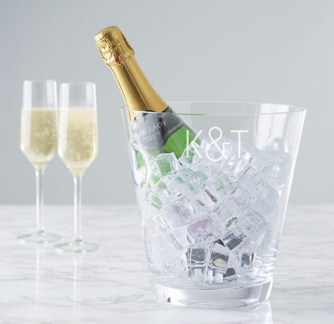 Personalised Initials Glass Champagne Bucket