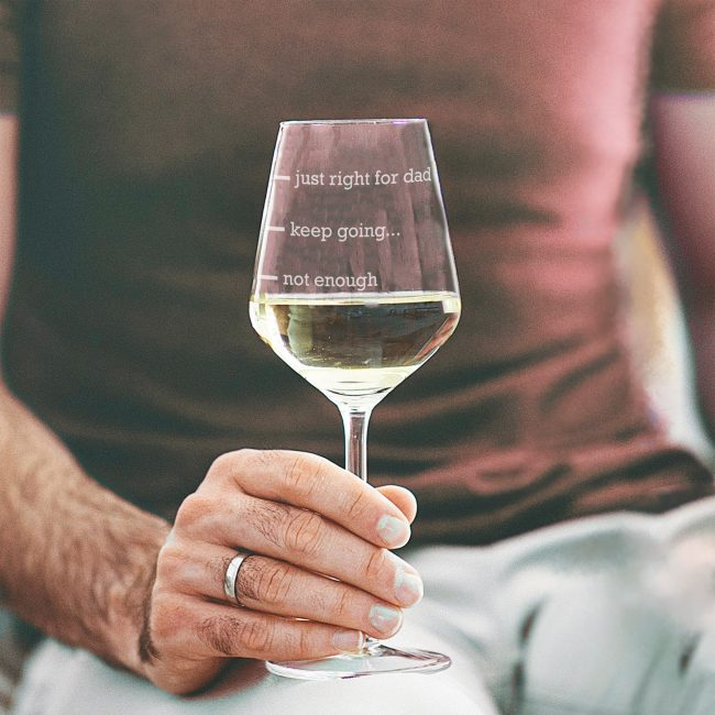 Personalised Just Right For Dad Wine Glass Lifestyle