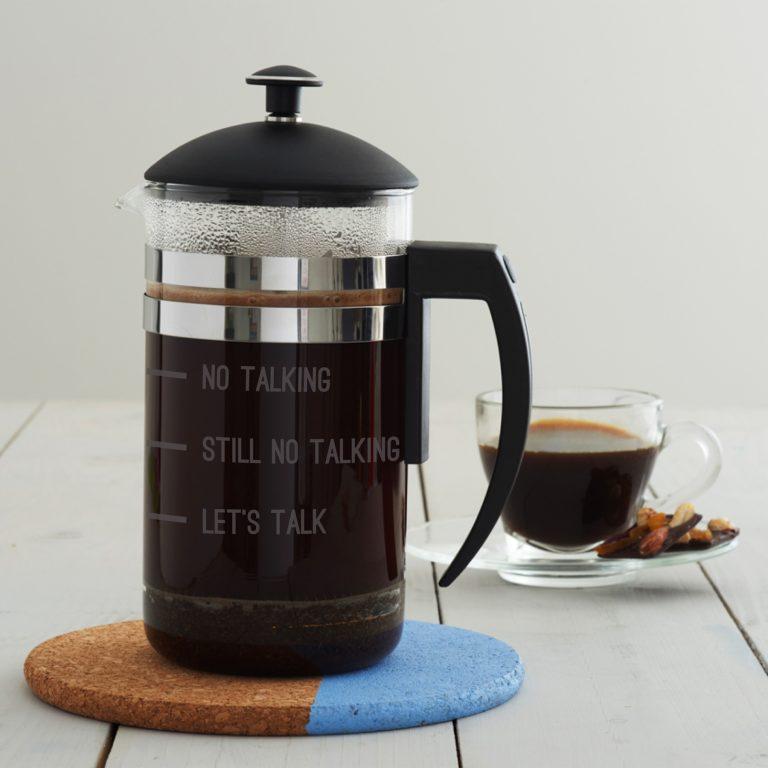 'No Talking' Measures Cafetiere
