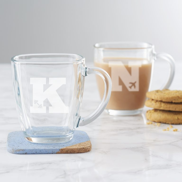 Personalised Hobby Monogram Glass Mug