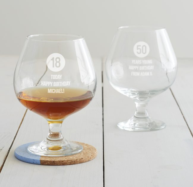 Personalised Milestone Birthday Brandy Glass For Him