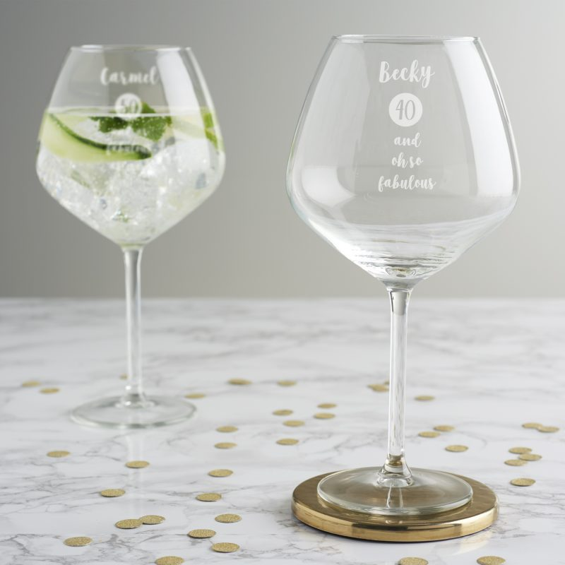 personalised special age birthday goblet glass for her becky
