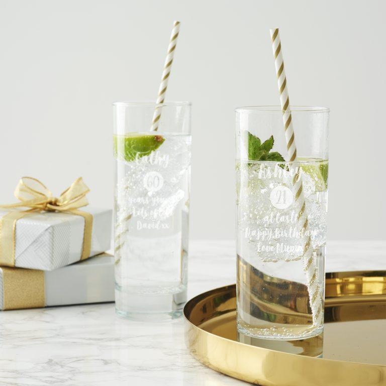 Personalised Milestone Birthday Hi Ball Glass For Her