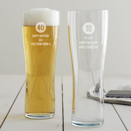 Personalised Milestone Birthday Pint Glass For Him