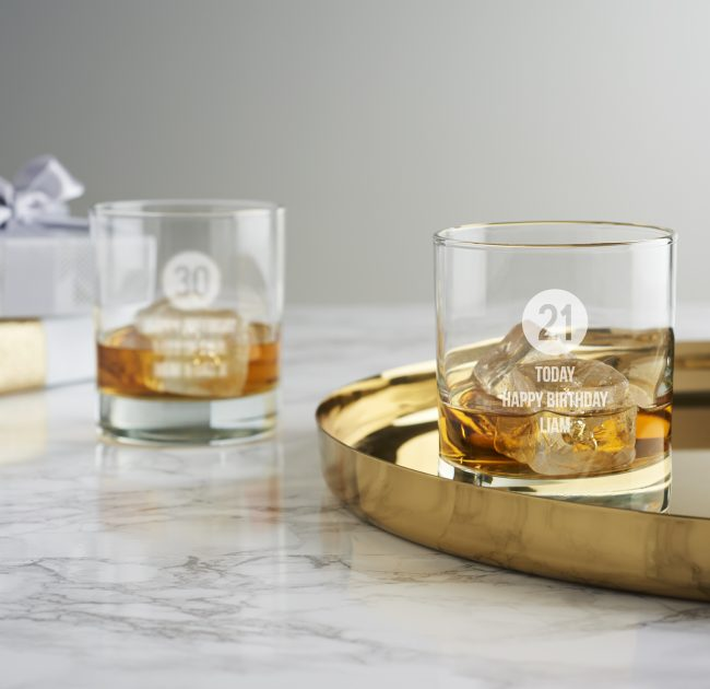 Personalised Milestone Birthday Whisky Glass For Him