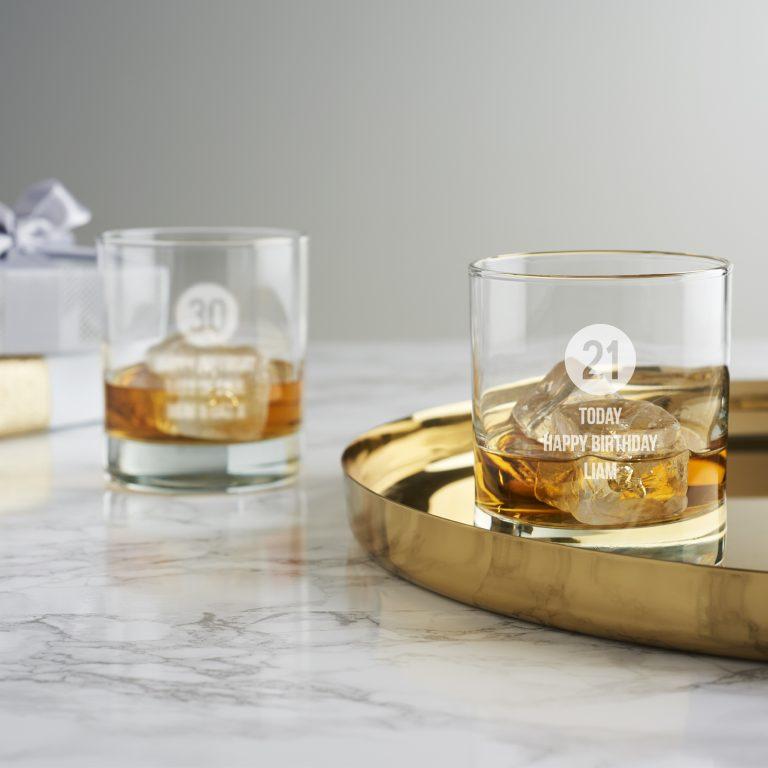 Personalised Milestone Birthday Whisky Glass For Him