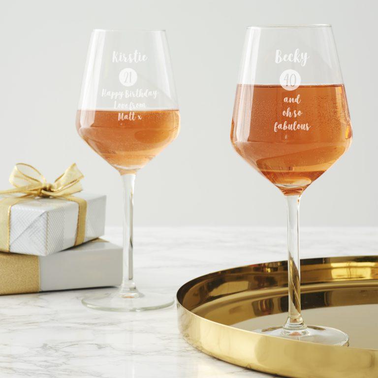 Personalised Milestone Birthday Wine Glass For Her