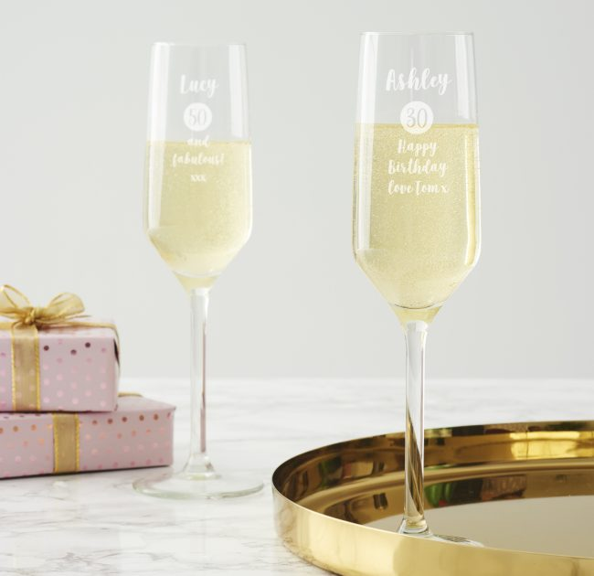 Personalised Milestone Champagne Flute For Her
