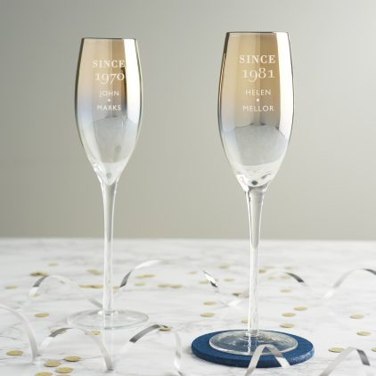 Personalised Since Birthday Gold Champagne Flute